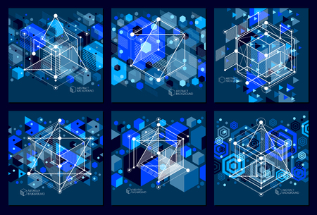 Lines and shapes abstract vector isometric 3D blue black backgrounds set. Abstract scheme of engine or engineering mechanism. Layout of cubes, hexagons, squares, rectangles and different elements. Illusztráció