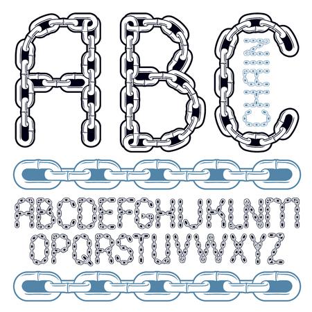 Vector script, modern alphabet letters, abc set. Capital decorative font created using connected chain link.
