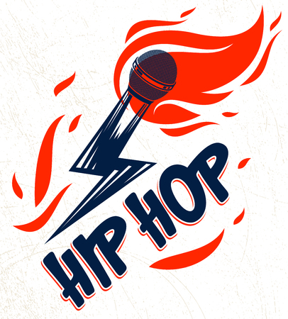Rap music vector logo or emblem with microphone in a shape of lightning bolt and flames of fire, hot Hip Hop rhymes festival concert or night club party label, t-shirt print.