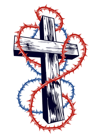Christian cross with blackthorn thorn vector religion logo or tattoo, passion of the Christ. Illustration