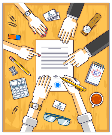 Bank customer write a sign on financial form of money credit with employees helps him and explains the terms of loan or Businessman signs contract paper, top view of desk with people hands. Vector. Ilustração