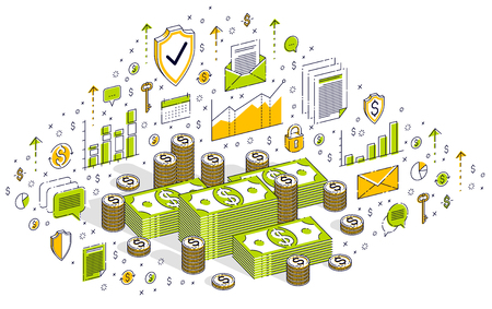 Cash money dollar stacks and coins cents piles isolated on white background. Isometric 3d vector finance and business illustration with icons, stats charts and design elements.