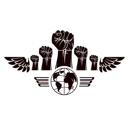 Clenched fists of angry people winged vector emblem composed with Earth globe symbol. Civil war abstract illustration. Social revolution concept. 向量圖像