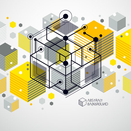 Geometric technology vector yellow drawing, 3D technical wallpaper. Illustration of engineering system, abstract technological backdrop. Abstract technical background.