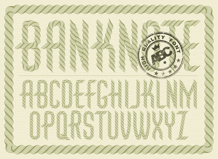 Vector upper case condensed English alphabet letters collection created with guilloche ornate, art ribbon. Can be used as graduation diploma design Illustration