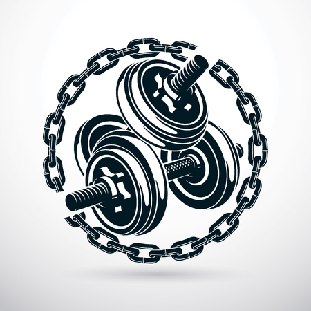 Dumbbell and disc weight vector illustration surrounded by iron chain. Cross fit and bodybuilding sport equipment.