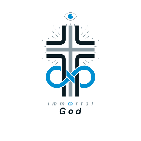 Everlasting God vector creative symbol design combined with infinity endless loop and Christian Cross, vector logo or sign.