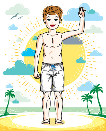 Cute little teenager boy standing wearing fashionable beach shorts. Vector beautiful human illustration. Fashion theme clipart.