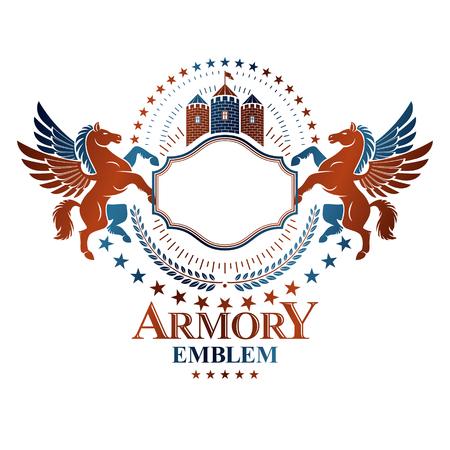 Graphic vintage emblem composed with winged Pegasus ancient animal element, medieval castle and pentagonal stars. Heraldic vector design element. Retro style label, heraldry logo.