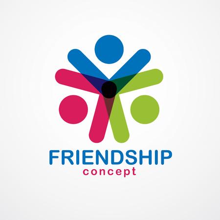Koncepcja pracy zespołowej i przyjaźni stworzona z prostych elementów geometrycznych jako załoga ludzi. Wektor ikona lub logo. Pomysł na jedność i współpracę, wymarzony zespół ludzi biznesu kolorowy design. Logo