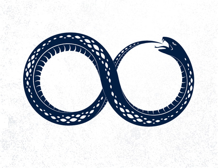 Snake eating its own tale, Uroboros Snake in a shape of infinity symbol, endless cycle of life and death, Ouroboros ancient symbol vector illustration logo, emblem or tattoo. Ilustração