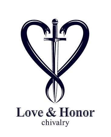 Dolch und zwei Schlangen in Form von Herzvektor-Vintage-Stil-Emblem oder Logo, Ritterlichkeitsliebe und -ehrenkonzept, mittelalterlicher viktorianischer Stil.