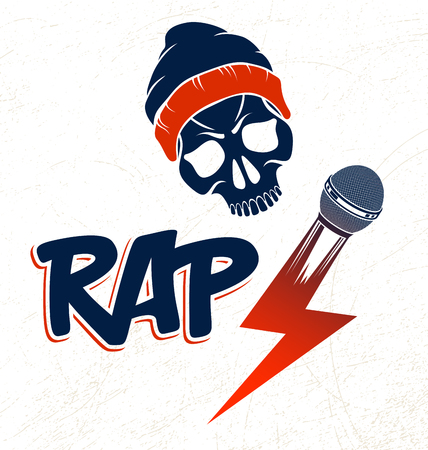 Hip Hop music vector logo or label with wicked skull and microphone, Rap rhymes night club party festival or concert emblem, t-shirt print. Ilustração