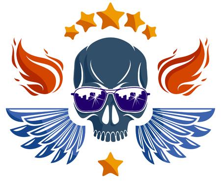 Crâne de style culture urbaine en logo ou emblème vectoriel de lunettes de soleil, illustration de gangster ou de voyou, hooligan du chaos anarchique, thème du ghetto.