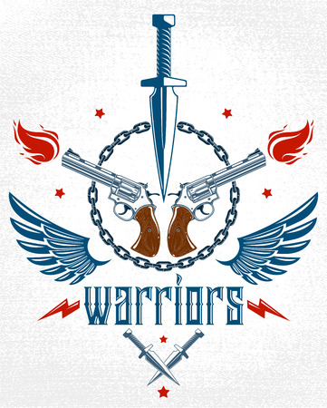 Dagger knife and other weapons  vector emblem of Revolution and War, tattoo with lots of design elements, anarchy and chaos concept, criminal and gangster style, social tension theme.