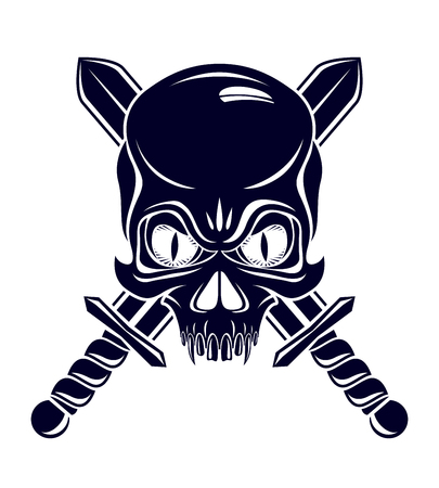 Aggressive skull pirate emblem Jolly Roger with weapons, vector vintage style logo or tattoo dead head. Logo