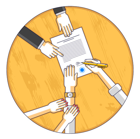 Man signs financial document and his woman helps him to dare to make a decision, employee or lawyer explains terms, top view people hands and paper. Vector. Ilustração