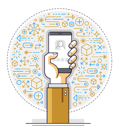 Internet communication and activity, man hands holding phones and using apps, global network, modern communication, messenger or social media concept, vector design.