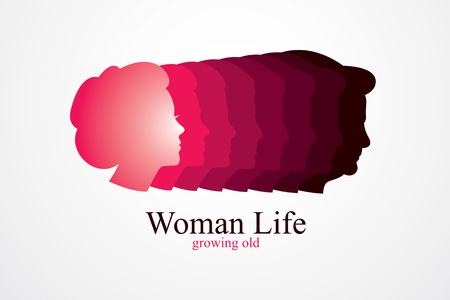 Woman life age years concept, the time of life, periods and cycle of life, growing old, maturation and aging, one generation and age categories. Vector simple classic icon or logo design.