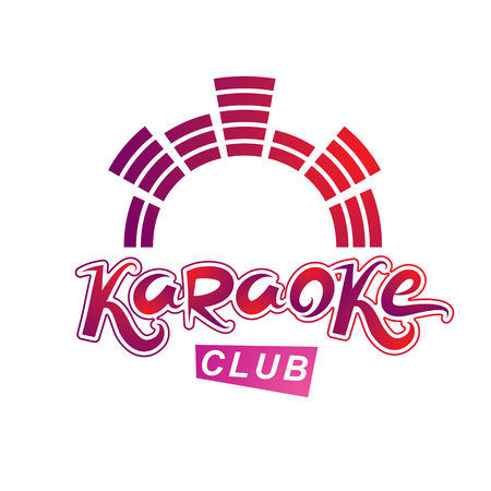 Karaoke club vector emblem created with mute volume symbol, nightclub party invitation poster. Stock Illustratie