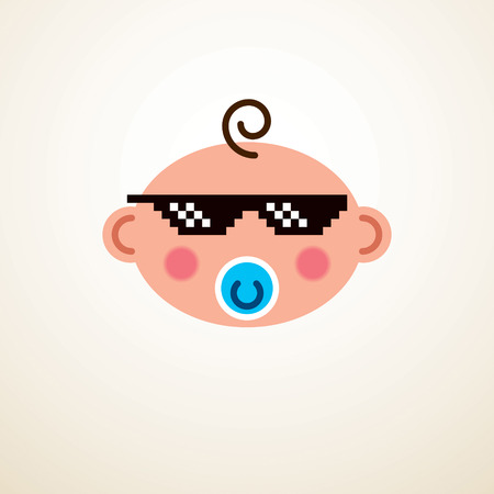 Cute baby cartoon vector flat icon, adorable happy and child with and pixel glasses of life thug emoji.