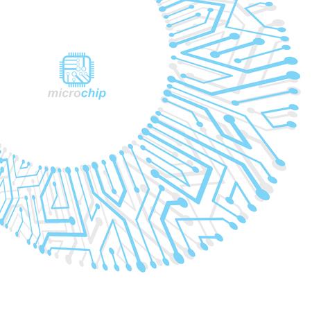 Placa de circuito de vector con componentes electrónicos del dispositivo de tecnología. Abstracción cibernética de la placa base del ordenador. Microprocesador electrónico