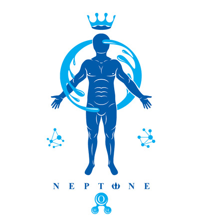 Vector graphic illustration of strong male, body silhouette surrounded by a water ball. Living in harmony with nature.