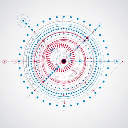 Plano técnico, anteproyecto de ingeniería abstracta para uso en diseño gráfico y web. Dibujo vectorial rojo y azul del sistema industrial creado con piezas mecánicas y círculos. Ilustración de vector