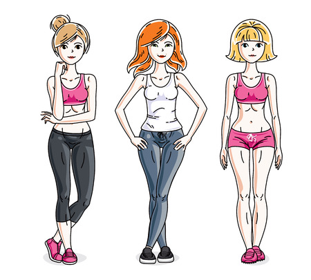 Happy pretty young women standing wearing stylish sport clothes. Vector diversity people illustrations set. Lifestyle theme fem characters. Illustration