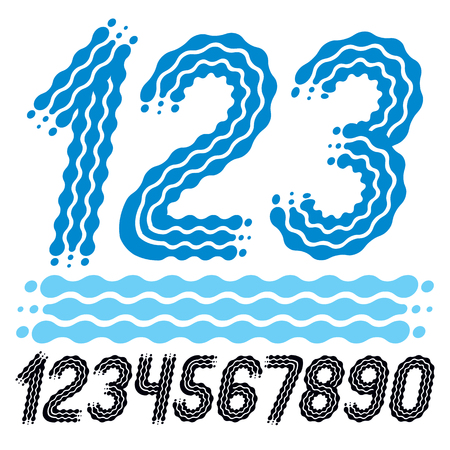 Vector Trendy, Cool Numbers Collection  Rounded Bold Italic