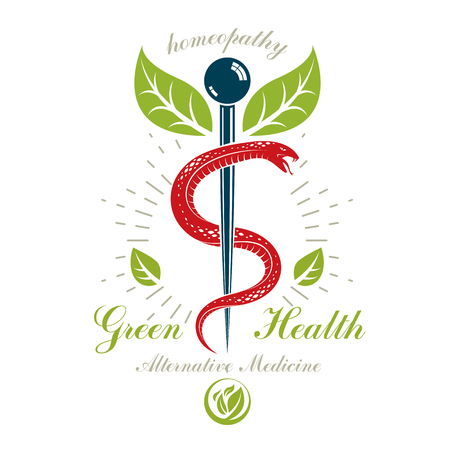 Caduceus symbol, healthcare conceptual vector logo. Homeopathy creative emblem.