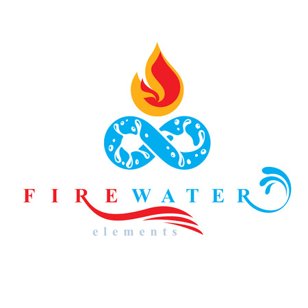 Continuous harmony between water and fire nature elements, vector limitless symbol for use as business logo. Illustration