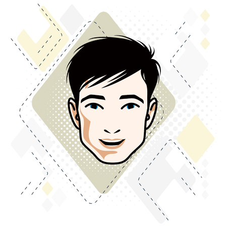Vector illustration of handsome brunet male face, positive face features, clipart. 矢量图像