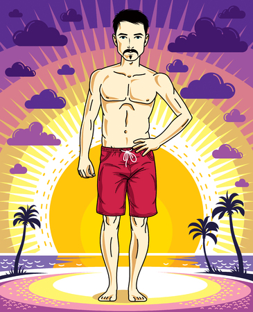 Handsome brunet young man with beard and mustaches is standing in red shorts on sunset view of tropical beach. Vector athletic male illustration. Summer vacation lifestyle theme cartoon.