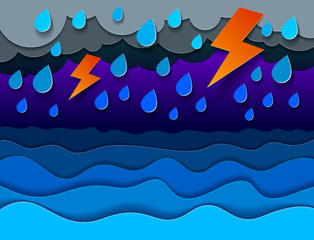 Thunderstorm with lightning over the sea with curvy waves rainy weather, perfect modern vector illustration in paper cut 3d style.