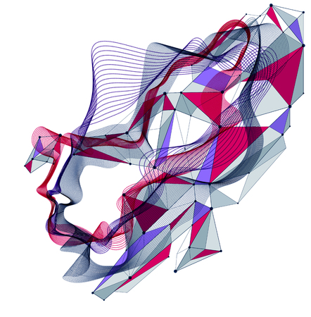 Technological time Spirit vector visualization in shape of human head made of dotted particles array flow in curve shapes, vector futuristic illustration.