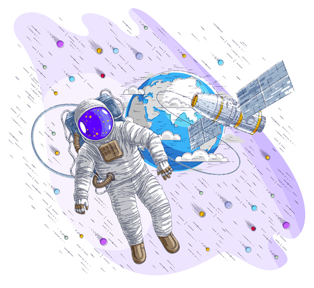 Astronaut flying in open space connected to space station and earth planet in background, spaceman in spacesuit floating in weightlessness and spacecraft, stars and other elements. Vector isolated. Illustration