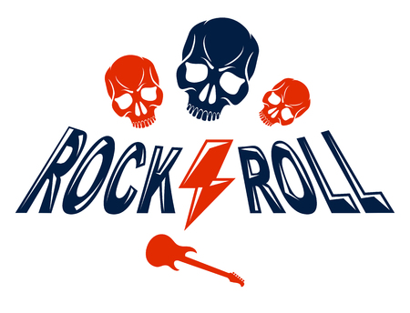 Skull in Hard Rock music vector logo or emblem, aggressive skull dead head Rock and Roll label, Punk festival concert or club, musical instruments shop or recording studio.