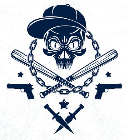 Emblème ou logo de gangster brutal avec des battes de baseball agressives et d'autres armes et éléments de conception, crime d'anarchie vectorielle ou style rétro de terrorisme, révolutionnaire du ghetto. Logo