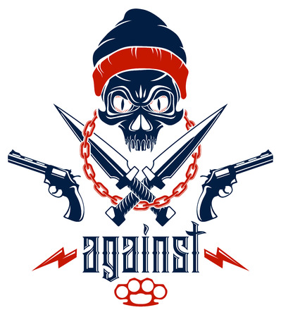 Anarchy and Chaos aggressive emblem or logo with wicked skull, weapons and different design elements , vector vintage scull tattoo, rebel gangster criminal and revolutionary.