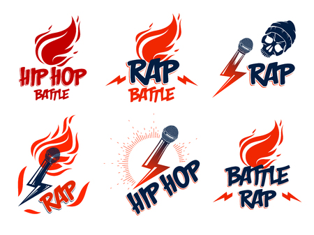 Rap music vector logos or emblems set with microphone in hand flames and lightning bolt, hot Hip Hop rhymes festival concert or night club party labels, t-shirt prints.