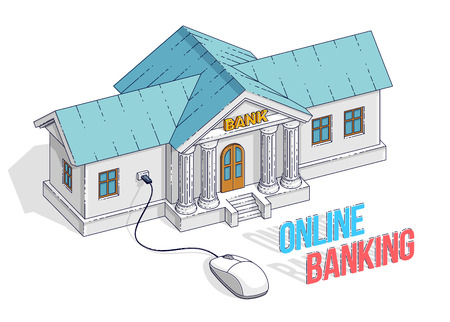 Concepto de banca en línea, edificio de banco con ratón de ordenador conectado aislado sobre fondo blanco. Vector ilustración isométrica 3d de negocios y finanzas, diseño de línea fina.