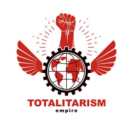 Vector emblema alado compuesto con el puño levantado sosteniendo el símbolo del planeta Tierra rodeado con un círculo de rueda dentada. Símbolo abstracto de la revolución social proletaria. Ilustración de vector