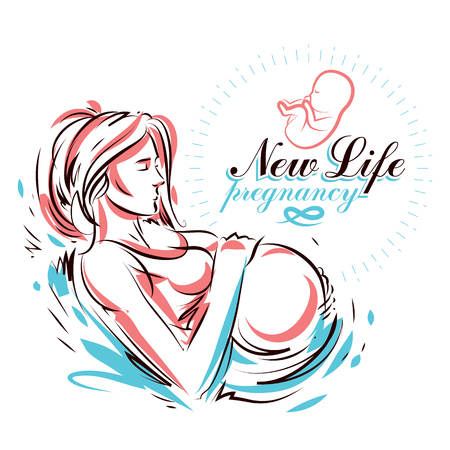 Pregnant female body shape hand drawn vector illustration, beautiful lady gently touching her belly. Gynecology and pregnancy medical care clinic promotion leaflet Ilustração