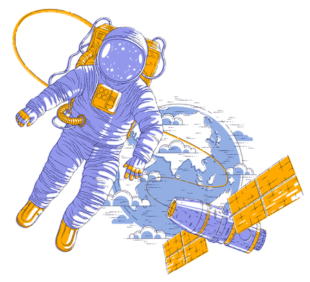 Spaceman flying in open space connected to space station and earth planet in background, astronaut man or woman in spacesuit floating in weightlessness and spacecraft behind him. Vector.