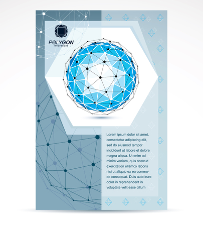 Communication technologies business corporative flyer template. Graphic vector illustration. Tech abstract blue shape, polygonal figure. 向量圖像