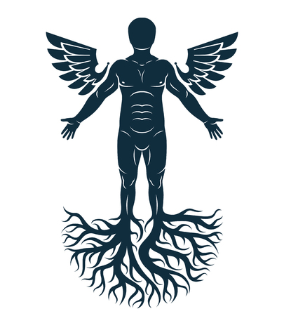 Vector graphic illustration of strong male, body silhouette standing on white background and made using tree roots and bird wings. Tree of life metaphor, family roots.