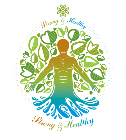 Vector human being standing. Alternative medicine concept, phytotherapy illustration created as the combination of water and tree nature powers.