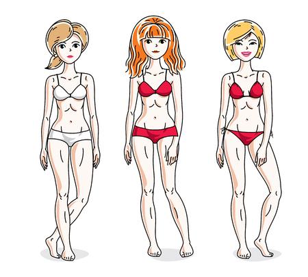 Young beautiful women standing wearing colorful bikini. Vector diversity people illustrations set. Illustration