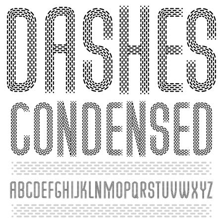 Set of cool vector upper case English alphabet letters isolated. Rounded condensed retro type font, script from a to z best for use in logotype design. Made with parallel dashed lines.